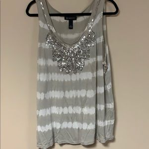 grey & white tye-dye tank